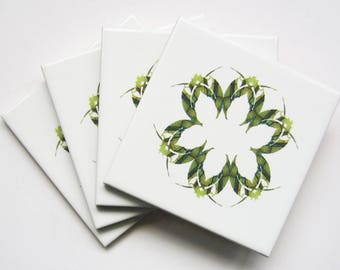 Pretty Geometric Leaf Design Ceramic Tile 4 Coaster Set in Green or Rainbow Colours with Cork Backing