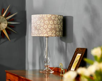 Lampshade in 'Paper Flowers' design (grey, 15cm or 30cm diameter)