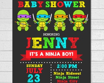 Ninja Turtles Baby Shower Invitation, Ninja turtle baby shower invitation, TMNT baby shower invitation