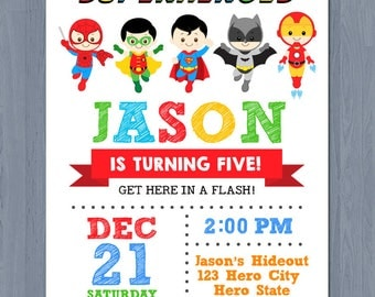 Superhero Birthday Invitation, Superhero Invitation, Avengers Invitation, Avengers birthday Invitation