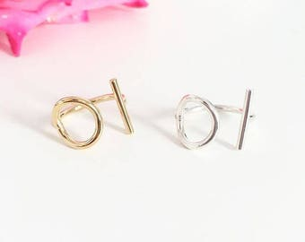 Circle and bar 925 sterling silver or gold plated ring