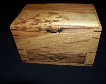 Spalted Oak Jewelry/Keepsake/Watch Box With Drawer