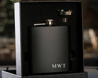5 Laser Etched Flask -Personalized Black Hip Flask with Funnel - Gift Box - Best Man Gift Wedding Party Gift - Groomsman Gift - Black Flask