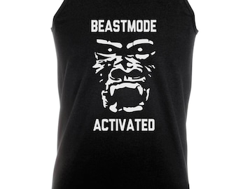 Beast Mode Activated Gorilla -  Bodybuilding Motivation Black Men's Clothing Workout Vest TOP MMA