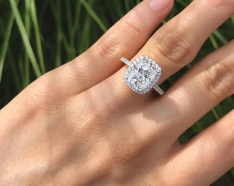 3.24 ct. Center Engagement Ring-Radiant Cut Diamond Simulant-Bridal Ring-Wedding Ring-Anniversary Ring-Promise Ring-Sterling Silver [7150]