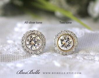 1.09 ct.tw Round Halo Stud Earrings-Brilliant Cut Diamond Simulant-Bridal Earrings-Wedding Earrings-Dazzling Earrings-Sterling Silver [3053]