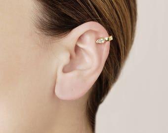 Gold Plated Ear Cuff No Piercing - Teardrop Ear Wrap - Cartilage Ear Cuff - Ear Cuff Non Pierced - Dainty Cuff Earrings - Gold Cz Ear Cuff