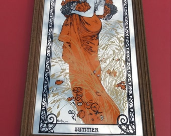 French Art Nouveau style Mirror Alphonse Mucha Small Wall Mirror Bohemian Boho Vintage French mirror