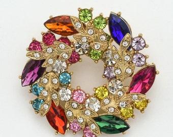 Multi Color Brooch Crystal Rhinestone Brooch Wedding Brooch Crystal Bridal Brooch Cake Sash Brooch Colorful Crystal Brooches.
