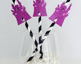 12 Haunted House Halloween Straws - Halloween Party - Happy Halloween - Party - Glitter - Striped Straws - Scary Party Decorations