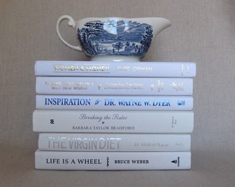 White and Ivory Decorative Books Set, Book Collection, Stack of Books, Wedding Centerpiece, White Decor, Books by Color, Book Bundle