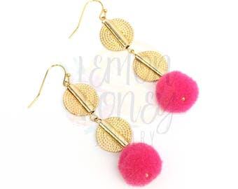 Long Pink Pom Pom Earrings, Pink Statement Earrings, Long Gold Earrings, Long Pom Pom Earrings, Gift for Her, Spring Pink Earrings