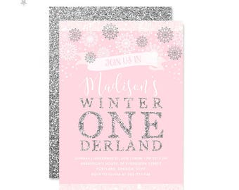Printable Winter Onederland Invitation Girl Pink And Silver Glitter Birthday Invitation Baby Girl First Birthday Winter Birthday Invitation