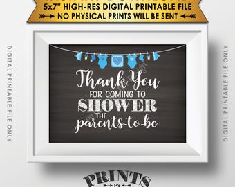 "Thank You Sign, Showering the Parents-to-Be Baby Shower Decor, Shower the Parents Sign, 5x7"" Chalkboard Style Printable Instant Download"