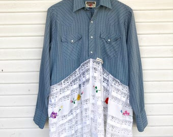 Pearl Snap Duster w/ Lace Trim - Lace Trim Duster - Blue Duster - MEDIUM