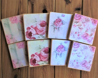 Decoupaged antique roses design pine coasters - Gift for her - 4, 6 or 8 x wooden coasters with or without holder