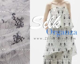 grey organza Silk Floral Printed wedding dress fabric by the YARD