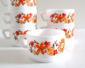 6 Vintage 70s Milk Glass Cups with Orange and Yellow Flowers - French Retro Arcopal Tea Cups or Coffee Cups
