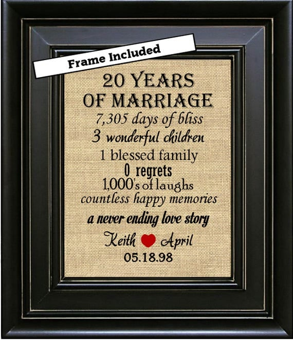 Wedding Anniversary List Of Gifts: FRAMED 20th Wedding Anniversary/20th Anniversary Gifts/20th