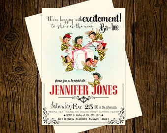 Bee Baby Shower Invitations Personalized Custom Printed Set of 12 Party Invites Vintage Ecru Bees Buzz