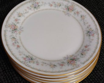 Two (2) Vintage NORITAKE Applique 3016 Bread and Butter Plates