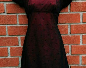 Black & Red Empire Waist Babydoll Dress * Vintage 90's * Black Mesh with Dots Over Red Lining * Size 9 * Goth * 90's Babydoll * Clueless