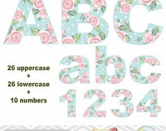 Digital Shabby Chic Flower Alphabet Clipart, Shabby Floral Alphabet Clip Art, Flower Number Clipart, Pink Blue Flower Letters Clip Art 0128
