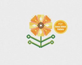 Retro Sunflower Cross Stitch Pattern - Instant Download - Scandinavian Modern Flower - Yellow - PDF