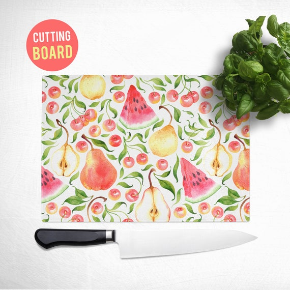 Tempered Glass Cutting Board - Watermelon Cherries and Pear Pattern - Fruit Kitchen Decor