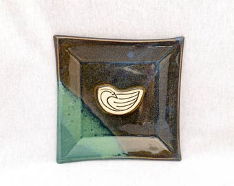 Stoneware pottery square plate/ dish, blue and green glaze, bird stamp appliqué, bird plate, square plate, bird pottery, square pottery