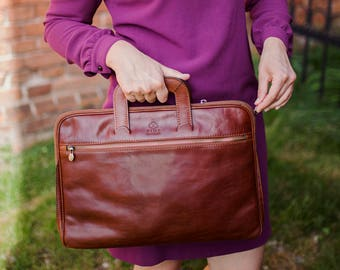Gift for him, gift for her, leather satchel, leather bag, messenger bag, Leather briefcase, leather laptop bag - Brave New World