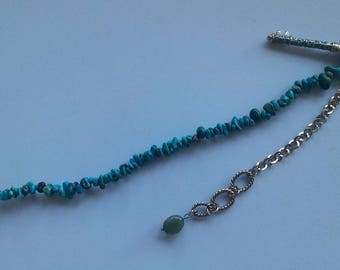 Enamel & Brass Key with Turquoise Strand and Brass Chain (Keychain)