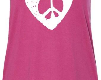 Hippie Heart Peace Ladies Flowy Racerback Tank Top HEARTPEACE-8800