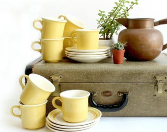 Yellow Mugs and Saucers, Ceramic Kitchen Ware