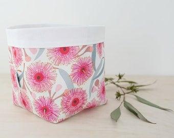 Storage basket. Australiana gift. Flowering gum print. Nursery storage. Bathroom storage. Baby shower gift. Mother's Day gift. Fabric bin