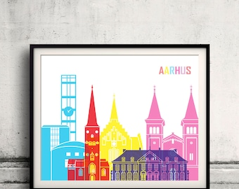 Arrhus skyline pop - Fine Art Print Glicee Poster Gift Illustration Pop Art Colorful Landmarks - SKU 2352