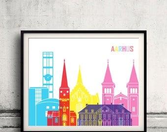 Arrhus skyline pop - Fine Art Print Glicee Poster Gift Illustration Pop Art Colorful Landmarks - SKU 2352