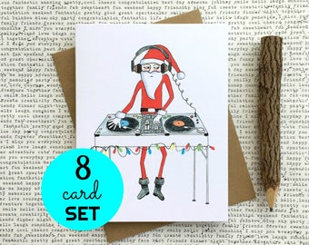 Funny Christmas Card, Christmas Card Set, Funny Christmas Card Set, Christmas Card Pack, DJ Santa Christmas Cards, Santa Christmas Cards