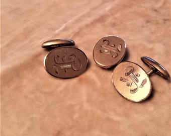 Pair of Gold Filled Cufflinks and Matching Tie Clip