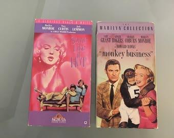 "Some Like It Hot / ""Monkey Business""  Marilyn Monroe VHS Vintage"
