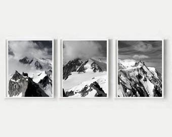 Modern Scandi Prints, Triptych, Set of 3 Prints, Mountain Print, Landscape Triptych, Printable Wall Art, Instant Download