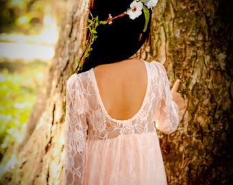 Lace Peach Long sleeves Flower Gril Dress