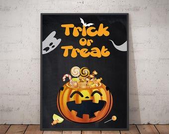 trick or treat halloween halloween decor halloween wall decor halloween home - Halloween Wall Decorations