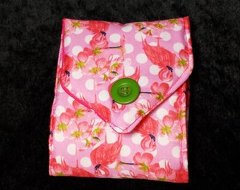 Padded Pink Flamingo Needle Case, Needle Book, Pin Cushion, Pincushion, Sewing Accessory, Sewing Gift, craft Gift
