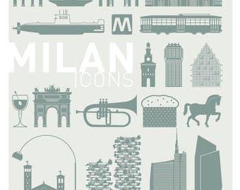 Milan Icons poster 02 pictograms