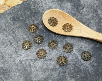 50 pcs, bead caps caps caps round filigree flower end caps beads 8 mm