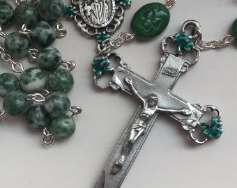 Handmade Irish Rosary with Saint Patrick and Shamrocks, Tree Agate, Czech Glass, Enameled Pewter, Ireland, Celtic, Spiritrosary, FreeShipUS