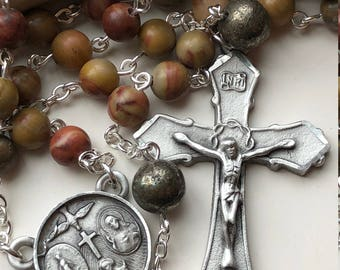 Handmade Men's Rosary, Pewter, Four Way Medal, Chinese Rainbow Jasper, Pyrite, Simple, Earthy and Rustic, Spiritrosary, Free Ship USA