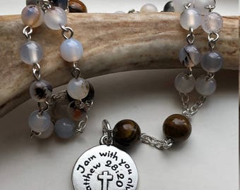 """Handmade Anglican Rosary, Flower Agate and Tiger's Eye, Protestant Prayer Beads, Biblical Stone, """"I am With You Always', Free Shipping USA"""