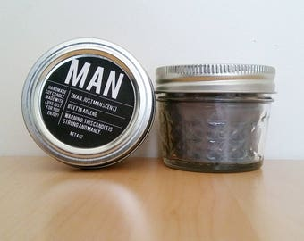Man Candle- Scented Soy Candle- Gift for Guys - Candles for Men by Etta Arlene Candles -4 oz Jar